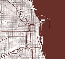 Chicago Map - Dark Brown Inverted by CartoCreative