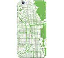 Chicago Map - Light Green Inverted iPhone Case/Skin
