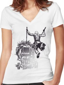Jump - Sketch Women's Fitted V-Neck T-Shirt