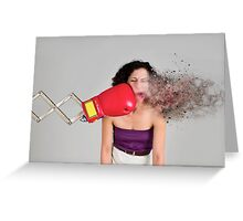 Mechanical boxing devices punches a young woman in the face  Greeting Card