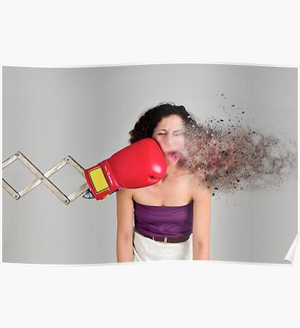 Mechanical boxing devices punches a young woman in the face  Poster