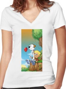 calvin ball hobbes Women's Fitted V-Neck T-Shirt