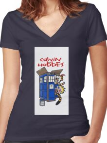 Calvin And Hobbes police box Women's Fitted V-Neck T-Shirt
