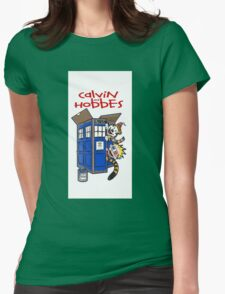 Calvin And Hobbes police box Womens Fitted T-Shirt