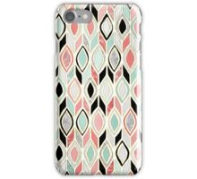 Patchwork Pattern in Coral, Mint, Black & White iPhone Case/Skin