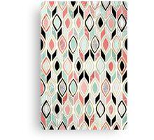 Patchwork Pattern in Coral, Mint, Black & White Canvas Print