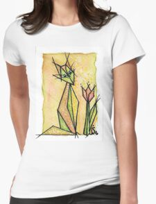 cat and tulip Womens Fitted T-Shirt