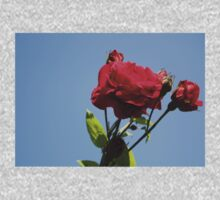 Red Roses with Blue Sky Background One Piece - Long Sleeve