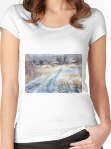 Before the Snowstorm in the Country. Russia Women's Fitted Scoop T-Shirt