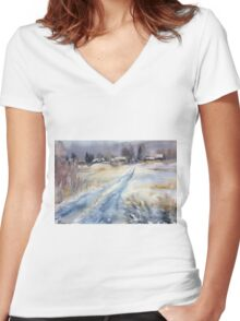 Before the Snowstorm in the Country. Russia Women's Fitted V-Neck T-Shirt