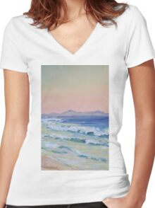Rainbow Beach looking north at dusk Women's Fitted V-Neck T-Shirt