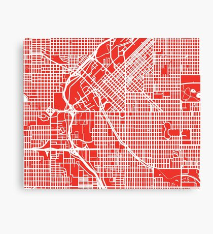 Denver Map - Red Canvas Print