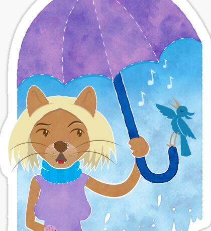 Cool cats and noisy neighbours on a rainy day Sticker