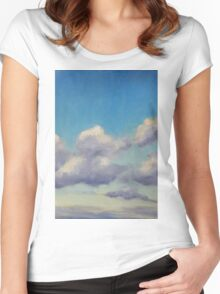 Lake Cathie cloudscape Women's Fitted Scoop T-Shirt