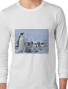 Emperor Penguin and Chicks - Snow Hill Island  Long Sleeve T-Shirt