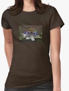 Side View of Beautiful Passiflora Flower Womens Fitted T-Shirt