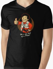 Fighter Pilot Boy Mens V-Neck T-Shirt