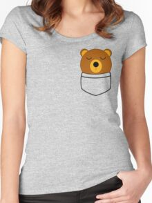Napping pocket bear Women's Fitted Scoop T-Shirt