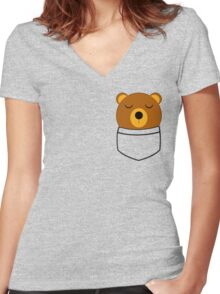 Napping pocket bear Women's Fitted V-Neck T-Shirt