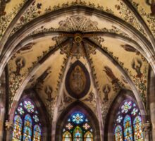 Panoramic view of St.Peter and Paul medieval church interior, Obernai, France Sticker