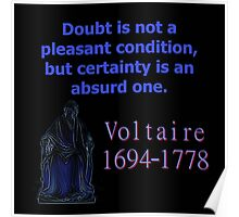 Doubt Is Not A Pleasant Condition - Voltaire Poster