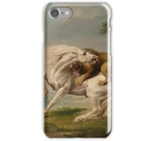 Lion attack - George Stubbs iPhone Case/Skin