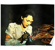 Digital Art - Vintage Style WWii Woman Poster