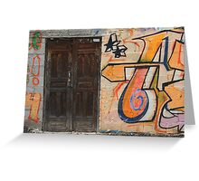 Wood Door in a Painted Wall Greeting Card