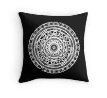 Hand-Drawn Abstract Mandala - White Throw Pillow