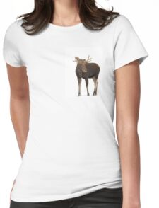 Moose in winter Womens Fitted T-Shirt