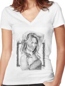 Kylie Minogue 2016 - Pop Princess! (black/white) Women's Fitted V-Neck T-Shirt