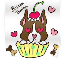 Boston Terrier Cupcake Poster