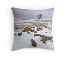 Lochindorb - Winter's Shoreline Throw Pillow