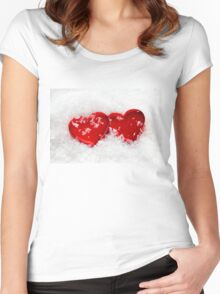 Love Hearts in Snow Women's Fitted Scoop T-Shirt