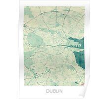 Dublin Map Blue Vintage Poster