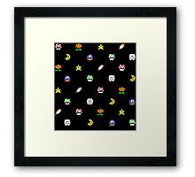 Super Mario World Item pixel pattern black Framed Print