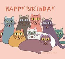 HAPPY BIRTHDAY by NINE CATS  by Jean Gregory  Evans