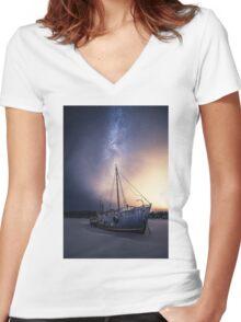 Starship. Women's Fitted V-Neck T-Shirt