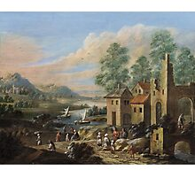 Marc Baets, River Landscape with a Ruin and Rural Staffage Photographic Print