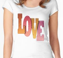 Love Word Pile of Coloured Wooden Letters Women's Fitted Scoop T-Shirt