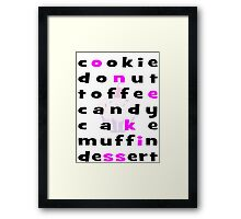 Cookie Donut Toffee Candy Cake Muffin Dessert Cupcake Framed Print