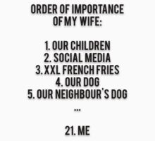 ORDER OF IMPORTANCE OF MY WIFE: 1. OUR CHILDREN, 2. SOCIAL MEDIA, 3. XXL FRENCH FRIES, 4. OUR DOG, 5. OUR NEIGHBOUR'S DOG, ...  21. ME by Musclemaniac