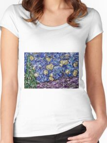 A Starry Evening in 2016 (figurative departure) Women's Fitted Scoop T-Shirt