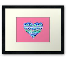 Sea of Love on Pink heart Framed Print