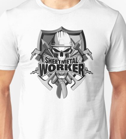 Sheetmetal Worker Skull and Tools Unisex T-Shirt