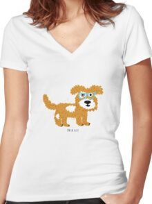 fun dog hipster style Women's Fitted V-Neck T-Shirt