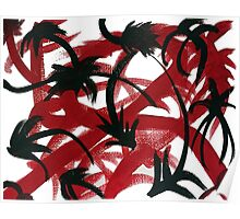 Abstract Red Black Pods Poster