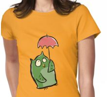 owl in the rain Womens Fitted T-Shirt