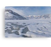 Frozen Lake with mountain background Canvas Print