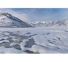Frozen Lake with mountain background Photographic Print